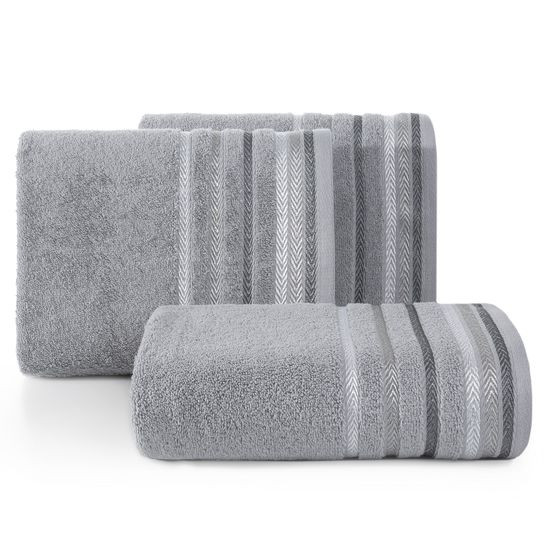 Ręcznik z bawełny z kolorowymi paskami w jodełkę 50x90cm szary - 50 X 90 cm - stalowy