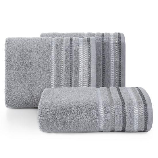 Ręcznik z bawełny z kolorowymi paskami w jodełkę 70x140cm szary - 70 X 140 cm - stalowy