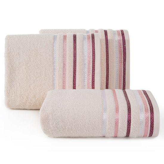 Ręcznik z bawełny z kolorowymi paskami w jodełkę 50x90cm jasnoróżowy - 50 X 90 cm