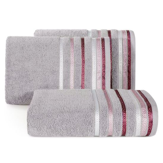 Ręcznik z bawełny z kolorowymi paskami w jodełkę 50x90cm wrzosowy - 50 X 90 cm