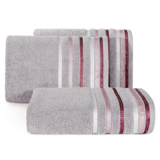 Ręcznik z bawełny z kolorowymi paskami w jodełkę 70x140 wrzosowy - 70 X 140 cm - liliowy
