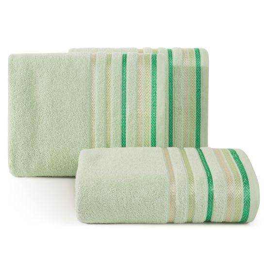 Ręcznik z bawełny z kolorowymi paskami w jodełkę 70x140cm jasnozielony - 70 X 140 cm - zielony