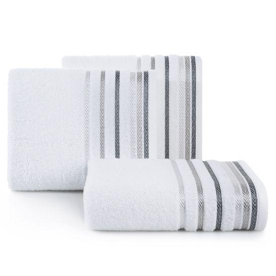Ręcznik z bawełny z kolorowymi paskami w jodełkę 70x140cm biały - 70 X 140 cm - biały
