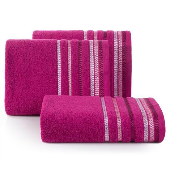 Ręcznik z bawełny z kolorowymi paskami w jodełkę 70x140cm amarantowy - 70 X 140 cm - amarantowy