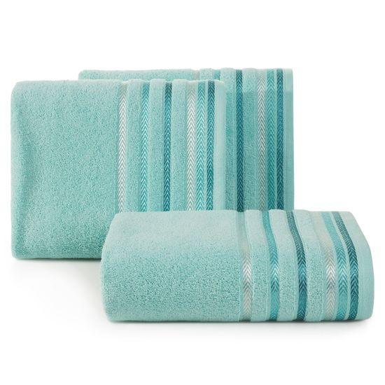 Ręcznik z bawełny z kolorowymi paskami w jodełkę 50x90cm turkusowy - 50 X 90 cm