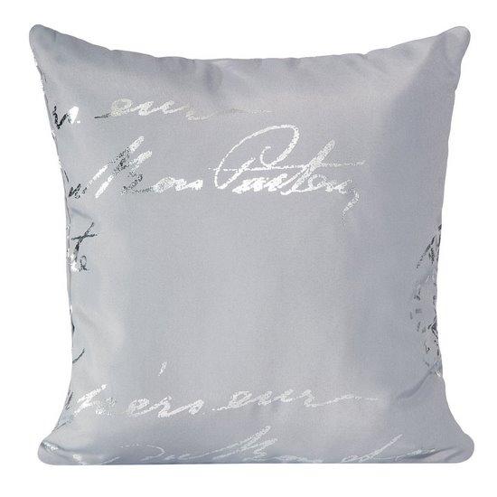 Poszewka na poduszkę 45 x 45 cm szara ze srebrnym napisem  - 45 X 45 cm