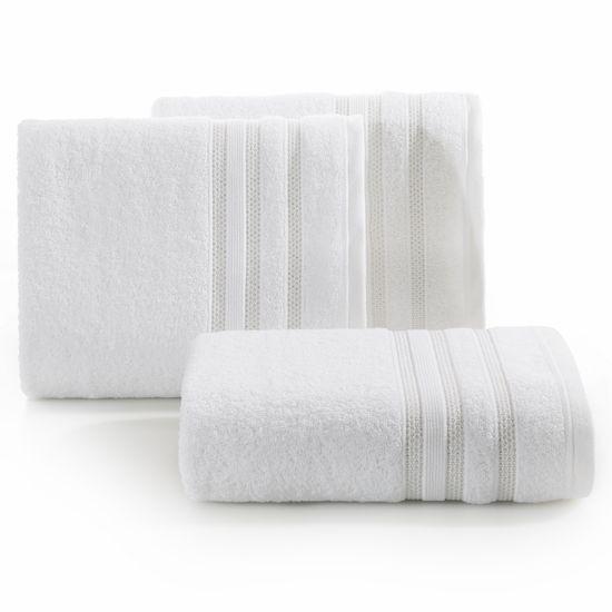 Ręcznik z bawełny zdobiony błyszczącą nitką 50x90cm biały - 50 X 90 cm - biały
