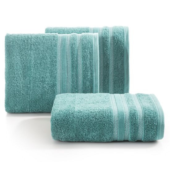 Ręcznik z bawełny zdobiony błyszczącą nitką 70x140cm turkusowy - 70 X 140 cm - turkusowy