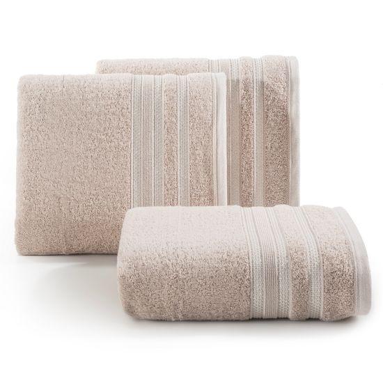 Ręcznik z bawełny zdobiony błyszczącą nitką 50x90cm jasnoróżowy - 50 X 90 cm