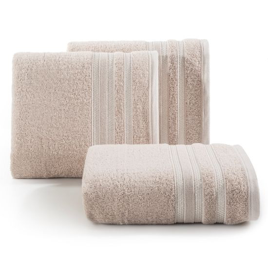 Ręcznik z bawełny zdobiony błyszczącą nitką 70x140cm jasnoróżowy - 70 X 140 cm