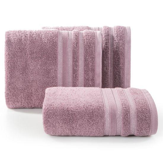 Ręcznik z bawełny zdobiony błyszczącą nitką 50x90cm różowy - 50 X 90 cm