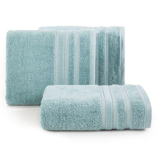 Ręcznik z bawełny zdobiony błyszczącą nitką 50x90cm miętowy - 50 X 90 cm