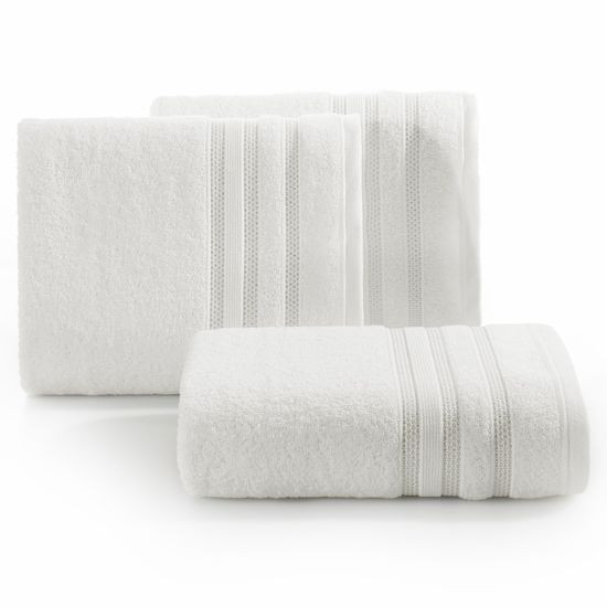 Ręcznik z bawełny zdobiony błyszczącą nitką 70x140cm kremowy - 70 X 140 cm