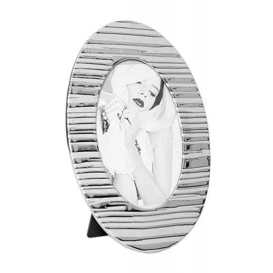 Ramka na zdjęcia owalna ceramiczna 28 x 18 x 1 cm - 28 X 18 X 1 cm - srebrny