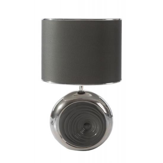 Lampka dekoracyjna ceramiczna stalowo - srebrna 43 cm - 25 X 15 X 43 cm
