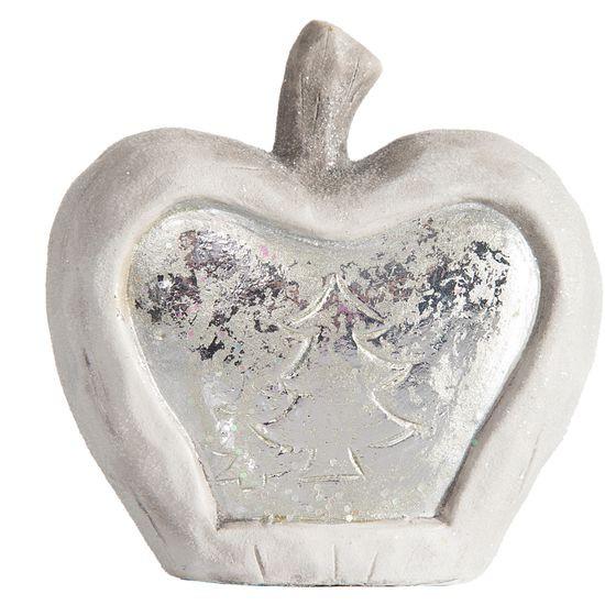 Figurka ceramiczna srebrzyste jabłko 13 x 6 x 14 cm - 13 X 6 X 14