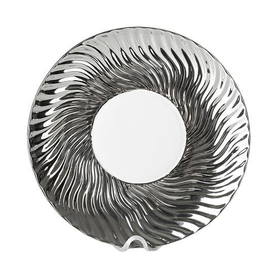 Patera ceramiczna srebrno-biała  - ∅ 27 X 3 cm