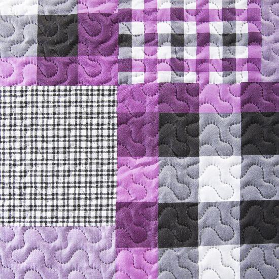 Narzuta dwustronna krata fioletowy+biały 220x240cm - 220x240