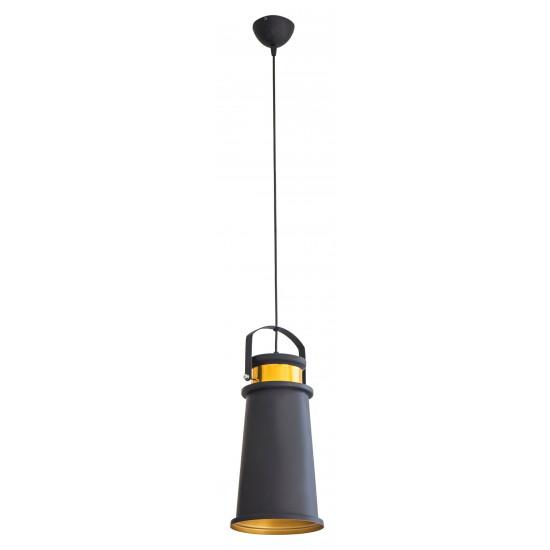 Lampa metalowa loftowa czarno-złota styl industrialny  - ∅ 19 X 36 cm - żółty/czarny