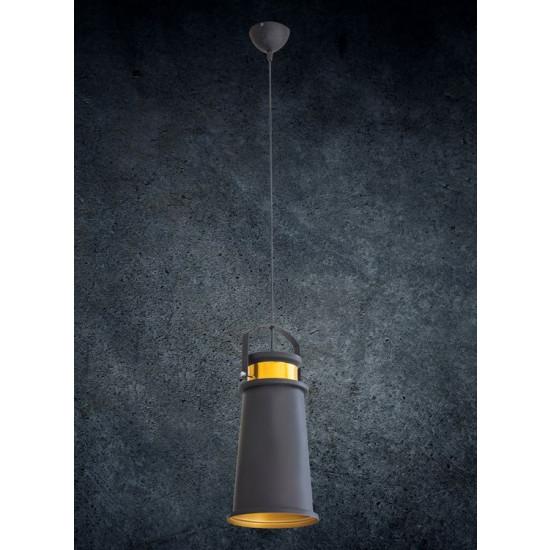 Lampa metalowa loftowa czarno-złota styl industrialny  - 19x19x36
