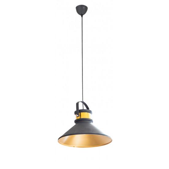 Lampa metalowa loftowa czarno-złota styl industrialny - ∅ 37 X 22 cm