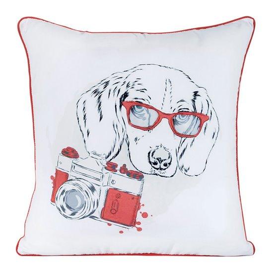 Poszewka pies z nadrukiem biało-czerwona 40 X 40 cm - 40x40