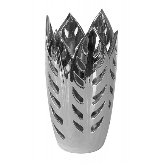 Wazon ceramiczny ażurowy srebrny 29 cm - ∅ 15 X 29 cm