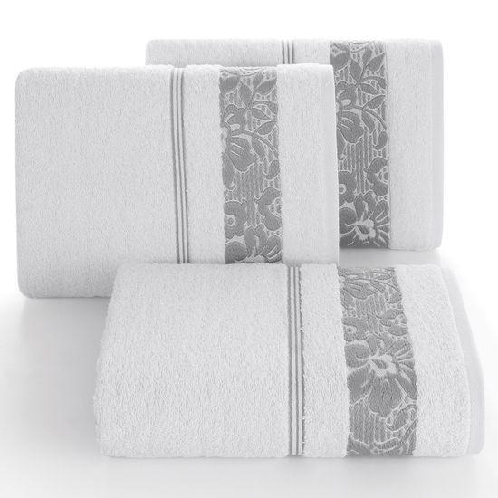Ręcznik z bawełny z kwiatowym wzorem na bordiurze 70x140cm biały+szary - 70 X 140 cm