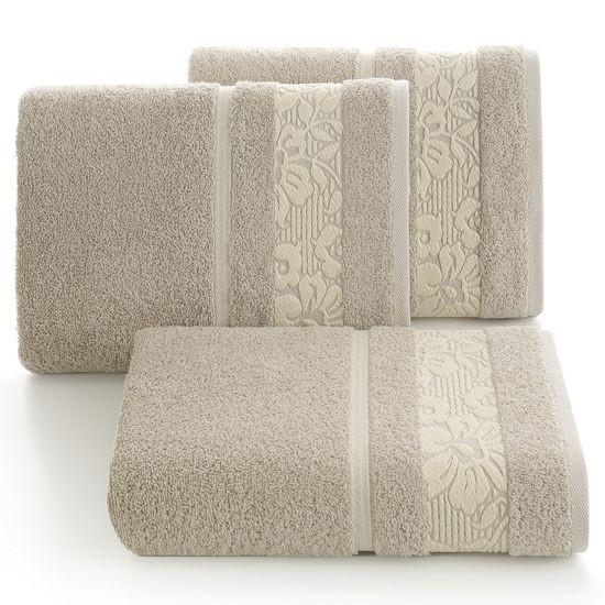 Ręcznik z bawełny z kwiatowym wzorem na bordiurze 50x90cm beżowy - 50 X 90 cm