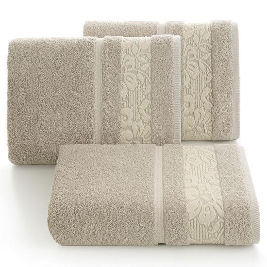Ręcznik z bawełny z kwiatowym wzorem na bordiurze 70x140cm - 70 X 140 cm
