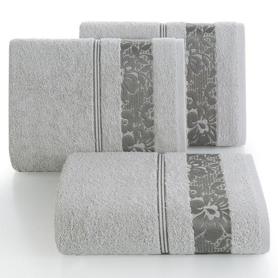 Ręcznik z bawełny z kwiatowym wzorem na bordiurze 70x140cm popielaty - 70 X 140 cm