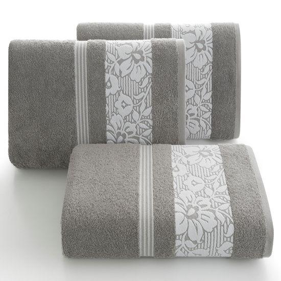 Ręcznik z bawełny z kwiatowym wzorem na bordiurze 50x90cm jasnoszary - 50 X 90 cm