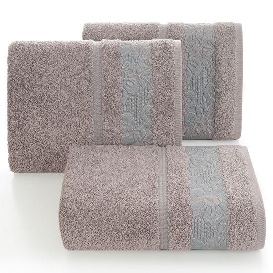 Ręcznik z bawełny z kwiatowym wzorem na bordiurze 70x140cm wrzosowy - 70 X 140 cm