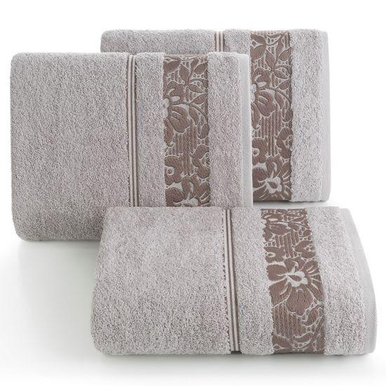 Ręcznik z bawełny z kwiatowym wzorem na bordiurze 50x90cm liliowy - 50 X 90 cm