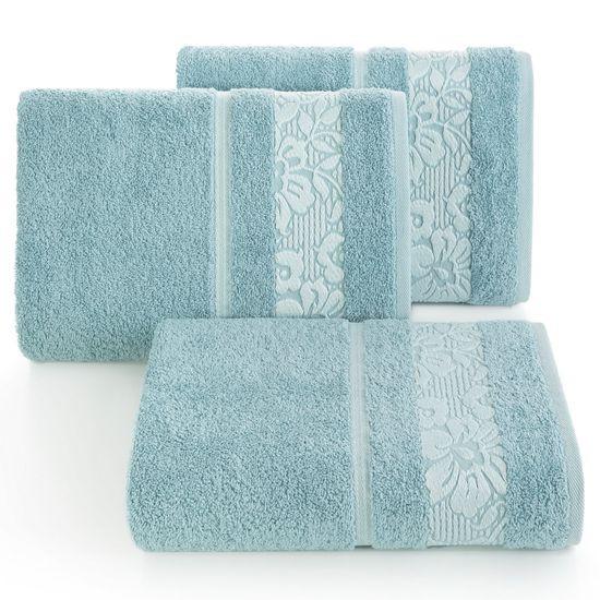 Ręcznik z żakardową bordiurą motyw roślinny jasnoniebieski 70x140 cm - 70 X 140 cm