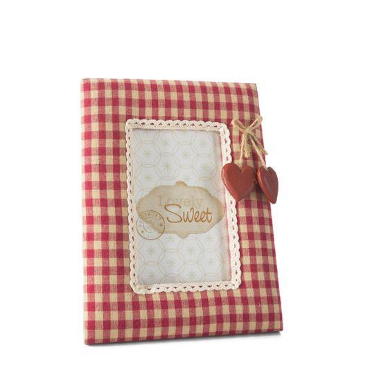 Ramka pokryta tkaniną krata serca 18 x 23 cm - 18 X 23 cm - czerwony/biały