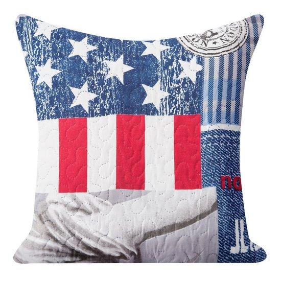 Poszewka na poduszkę usa 40 x 40 cm  - 40 X 40 cm - niebieski/mix kolorów