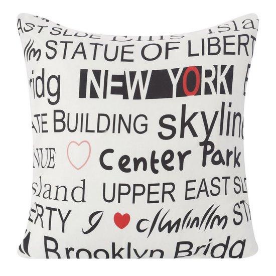 Poszewka na poduszkę 40 x 40 cm new york biało czarna  - 40x40 - srebrny