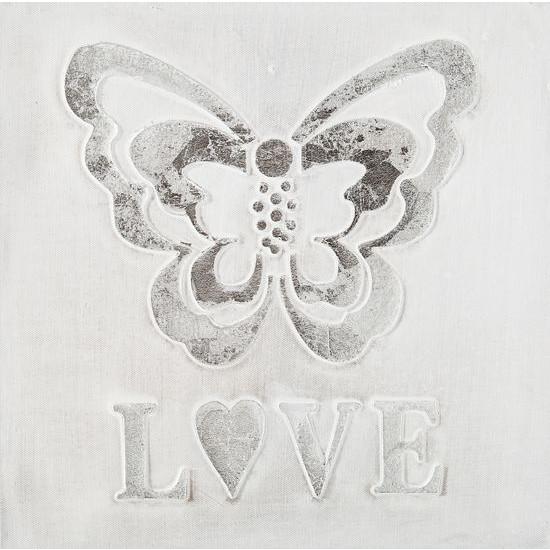 Obraz love motyl biały popielaty 30 x 30  - 30 X 30 cm