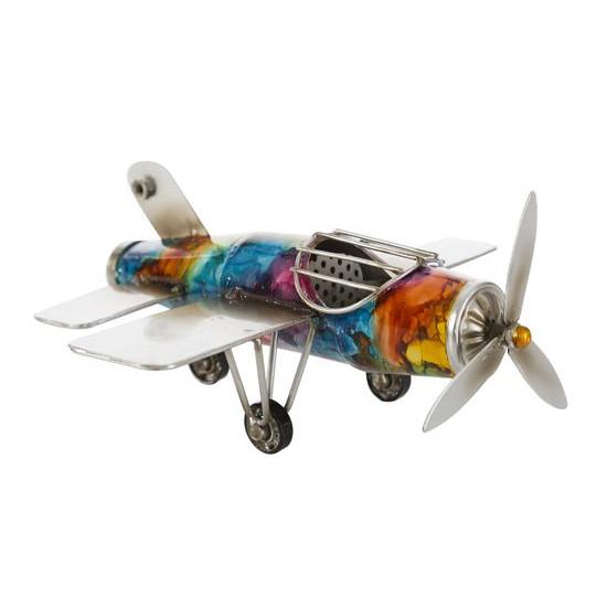Figurka dekoracyjna samolot metal 23 x 23 x 10 cm - 23 X 23 X 10 cm - wielokolorowy