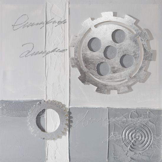 Obraz zegar popielaty 60 x 60 cm - 60 X 60 cm