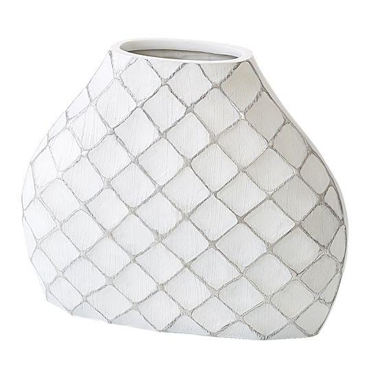 Wazon ceramiczny żłobiony z przetarciami 37 cm - 43 X 13 X 37 cm - biały