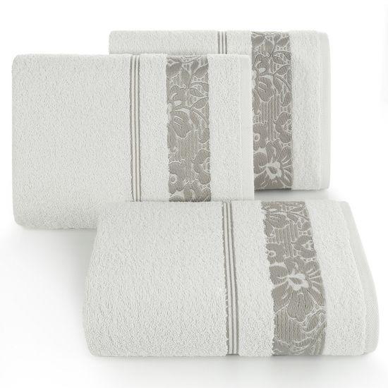 Ręcznik z bawełny z kwiatowym wzorem na bordiurze 50x90cm kremowy+beżowy - 50 X 90 cm