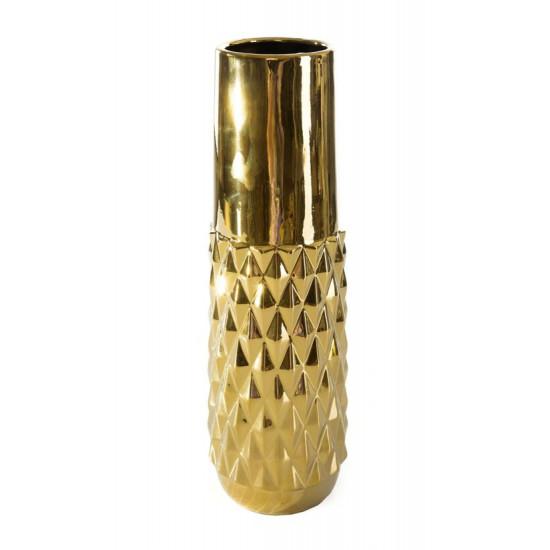 Dekoracyjny wazon ceramiczny wytłaczany złoty 37 cm - ∅ 12 X 37 cm - złoty
