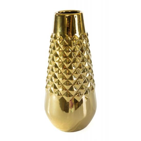 Dekoracyjny wazon ceramiczny wytłaczany złoty 35 cm - ∅ 15 X 35 cm - złoty