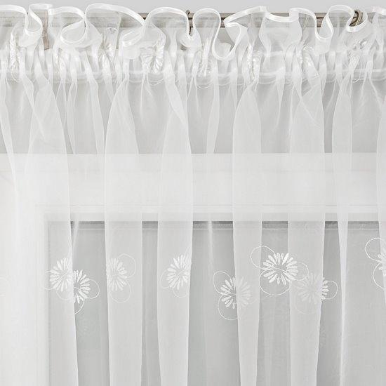 Firana haftowana w kwiaty biała z kryzą na taśmie 400x145cm - 400x160