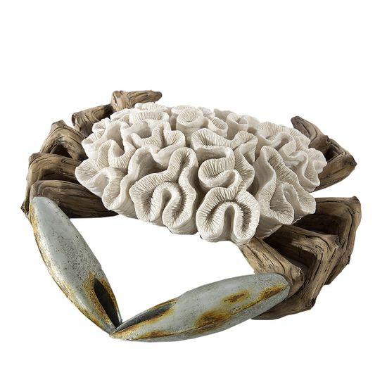 Figurka krab dekoracyjny motyw rafy koralowej - 33 X 32 X 9 cm - ecru/beżowy
