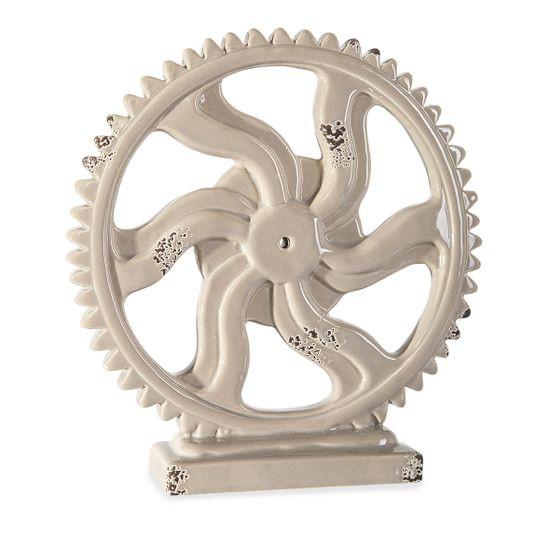 Figurka koło zębate z dolomitu 20 x 5 x 20 cm shabby chic - ∅ 20 X 5 X 20 cm
