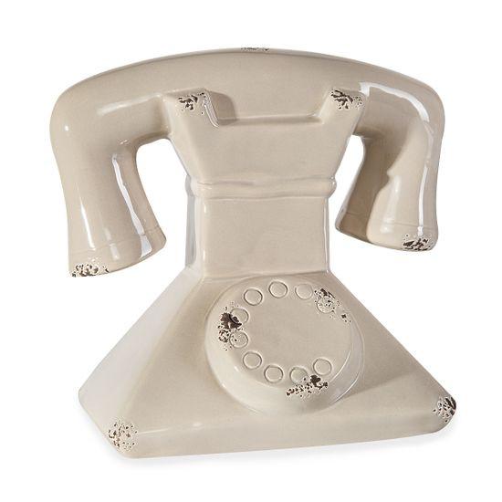 EVEREN CERAMICZNA FIGURKA DEKORACYJNA KOŁO TELEFON Z DOLOMITU 18x13x17 cm - 18 X 13 X 17 cm