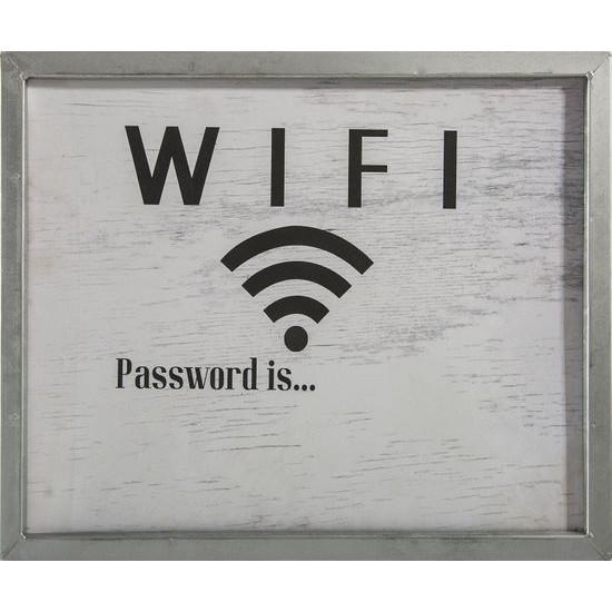Obraz wifi popielaty biały 40 x 30 x 2 cm - 40 X 30 X 2 cm - szary/czarny